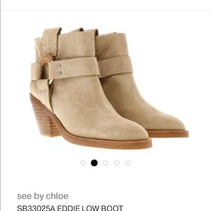 See By Chloe Vedel Leather Western Beige Boots